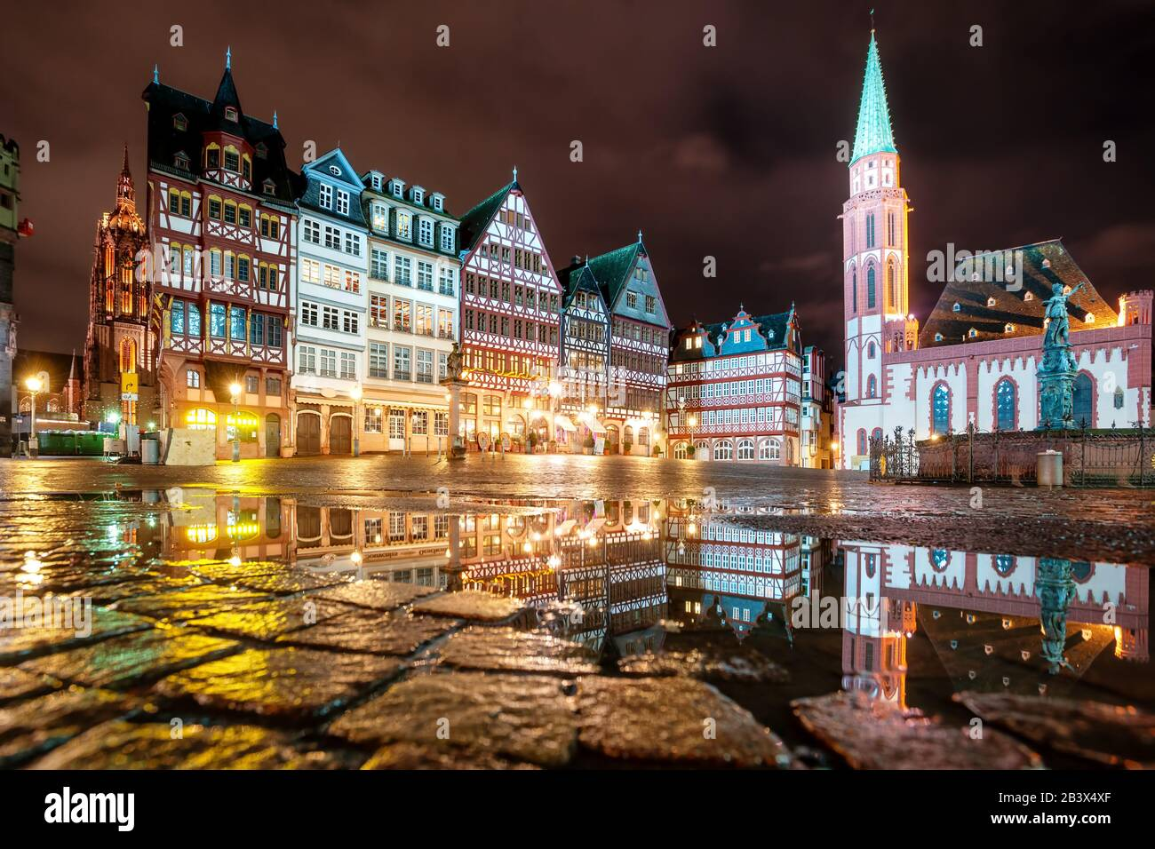 Roemerberg, the medieval Old town of Frankfurt on Main city, Germany, at night Stock Photo