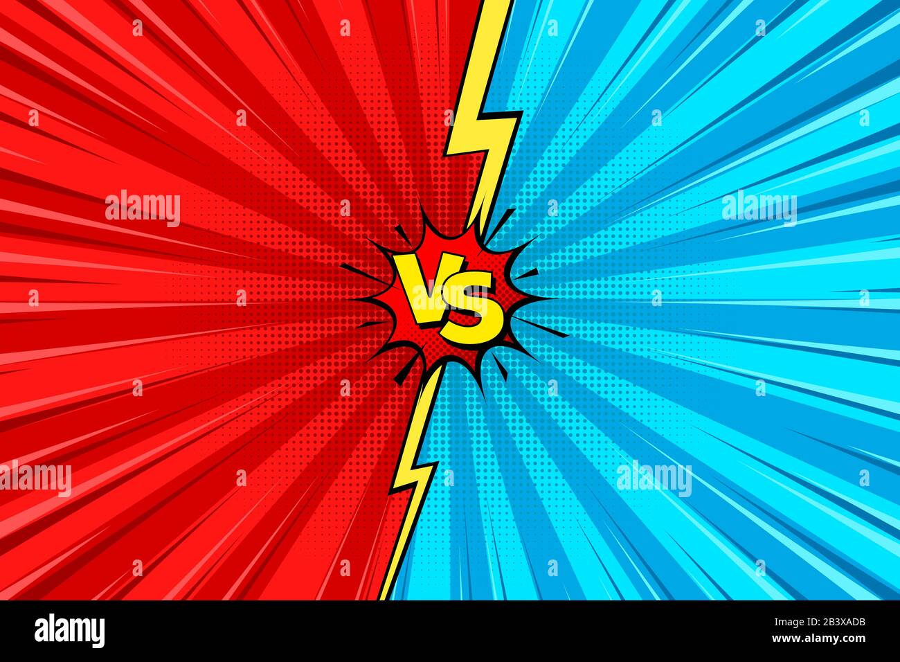 Cartoon Comic Background Fight Versus Comics Book Colorful Competition Poster With Halftone Elements Retro Pop Art Style Vector Illustration Stock Vector Image Art Alamy