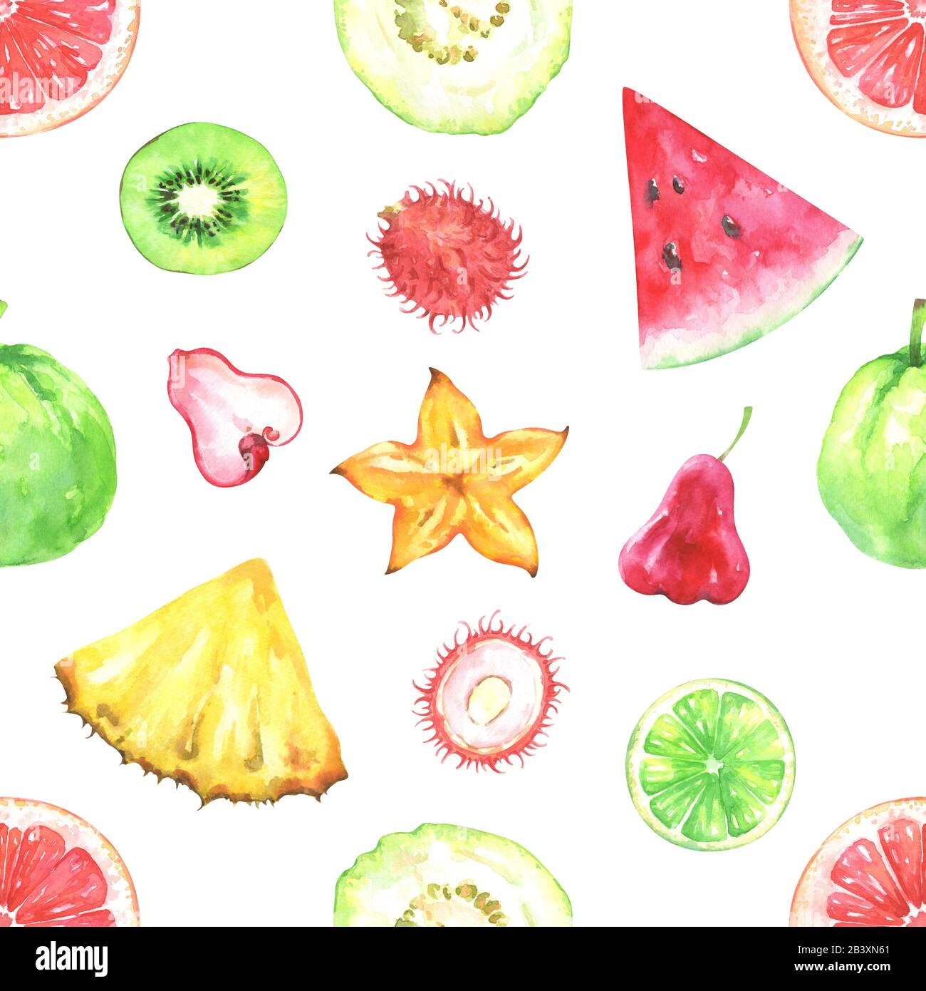 Hand painted watercolor seamless exotic fruits pattern Stock Photo