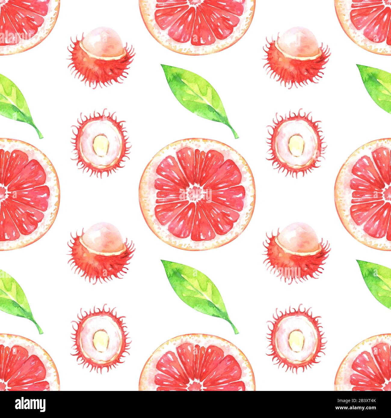 Hand painted pattern with watercolor grapefruit, rambutan and green leaves Stock Photo
