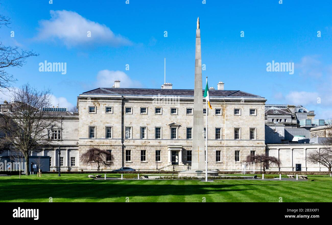 The rear of Leinster House, once the family home of The Duke of Leinster,it is now the  seat of the Oireachtas, the parliament of ireland. Stock Photo