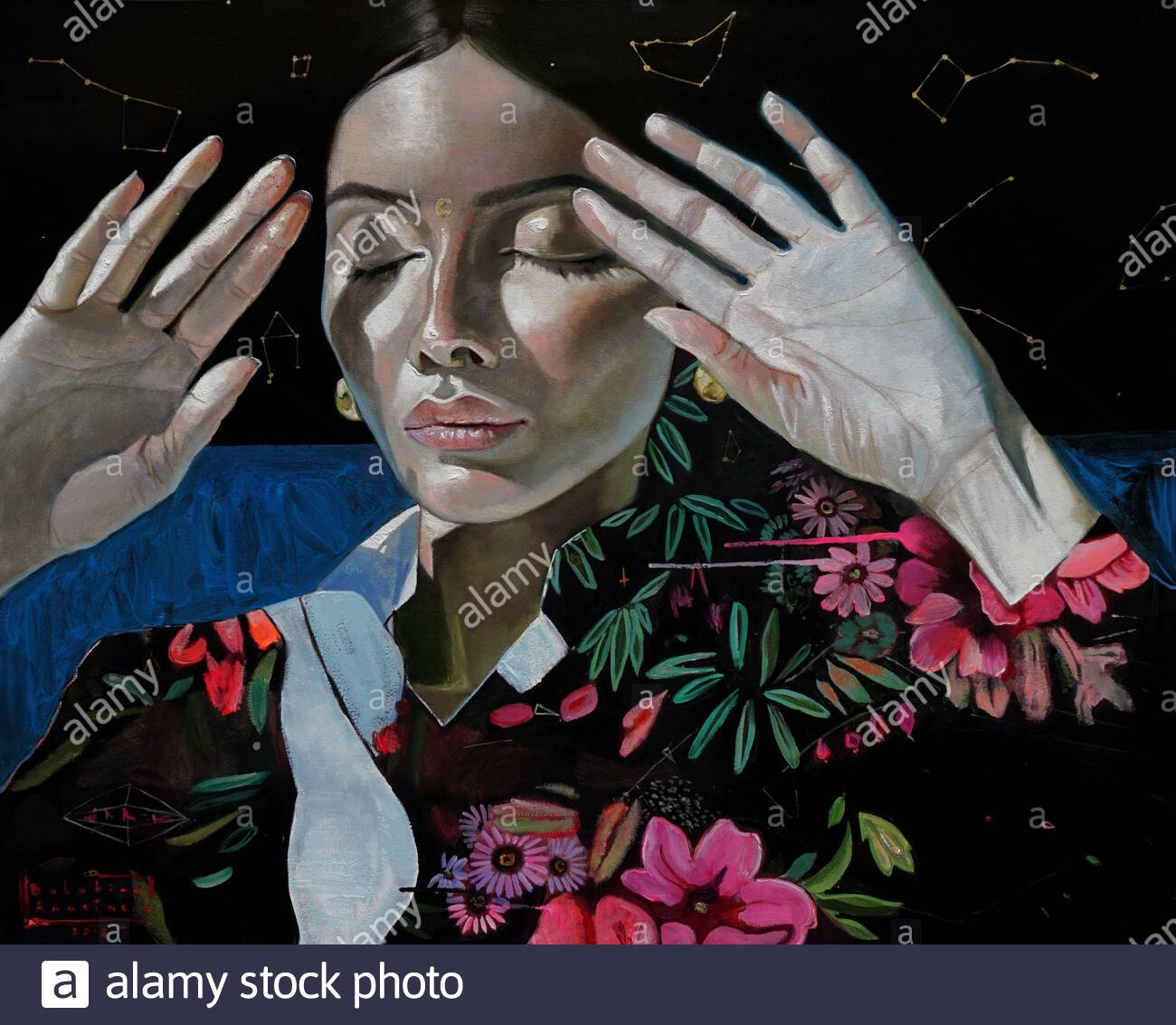 Acrylic And Oil Painting On Canvas Fantasy Woman Portrait Stock Photo Alamy