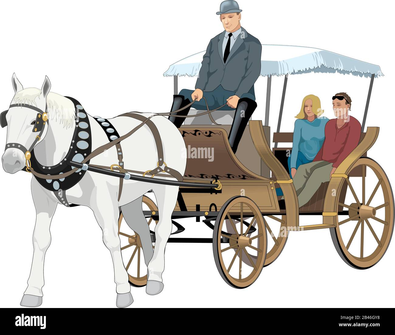 Horse Drawn Carriage Vector Illustration Stock Vector Image Art Alamy