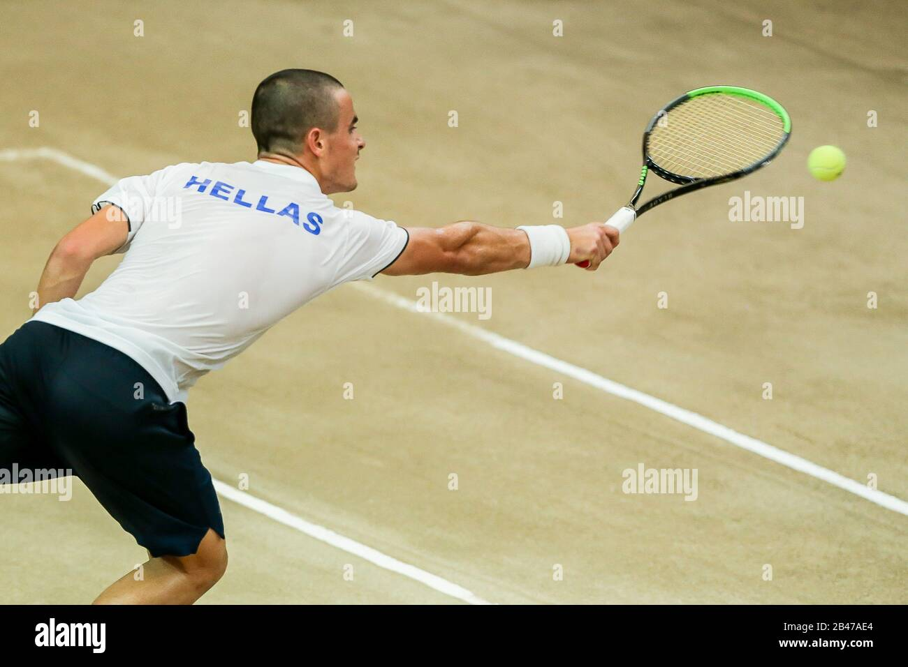 Manila 6th Mar 2020 Petros Tsitsipas Of Greece Returns The Ball During The Singles Match Against Jeson Patrombon Of The Philippines At Davis Cup World Group Ii Play Off Round Between The Philippines