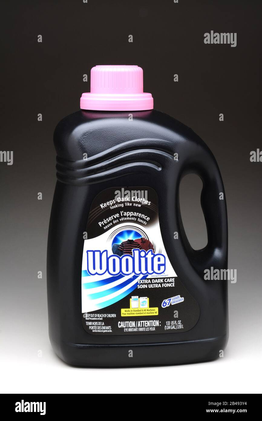 IRVINE, CA - January 11, 2013: A  133oz bottle of Woolite Extra Dark Care. Woolite is a brand of laundry detergent owned by Reckitt Benckiser. Stock Photo