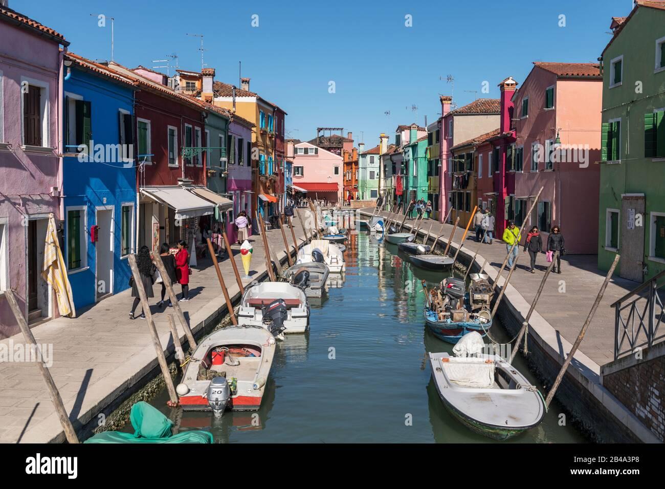 Burano, Venice, February 25th - March 3rd. 2020: Stock Photo