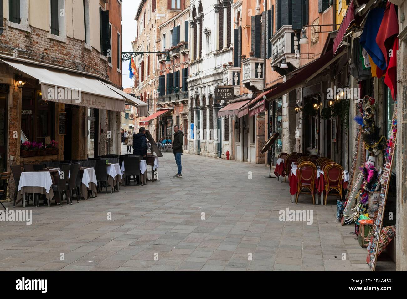 Venice, February 25th - March 3rd. 2020: Bars and restaurants  are suffering from a drastic drop in business as the Coronavirus epidemic scares tourist from visiting Vence and cancelling their trip. Restaurants and bars are laying off members of staff as trade has dropped off dramatically. Stock Photo