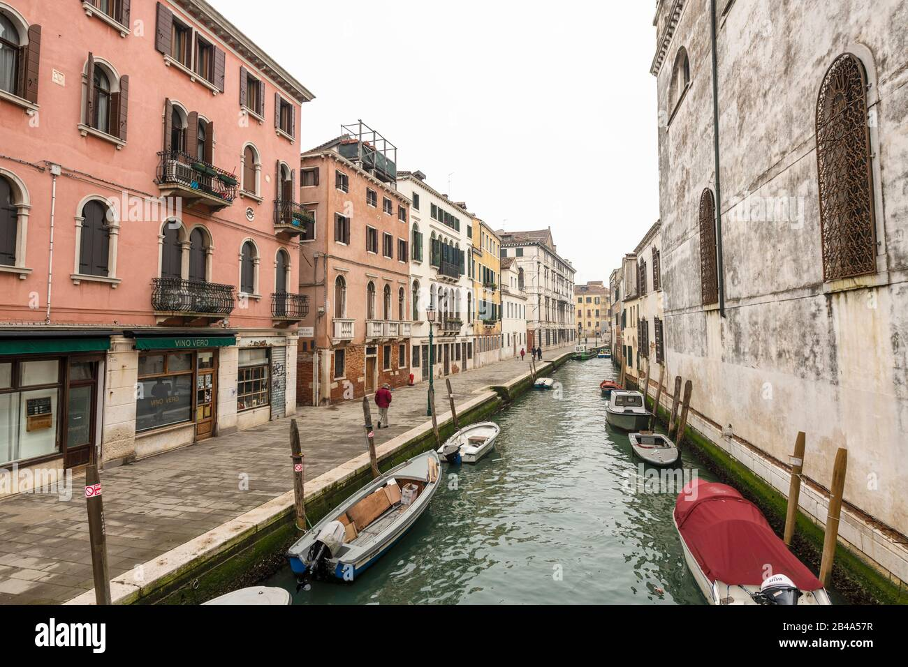 Venice, February 25th - March 3rd. 2020: Coronavirus epidemic has had the effect of detering tourists from visiting the island and has resulted in Gondoliers losing custom. Stock Photo