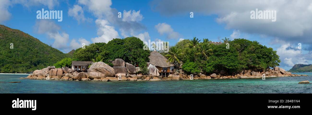 Seychelles, Praslin Island, panoramic view of the Chauve Souris Hotel Island Stock Photo
