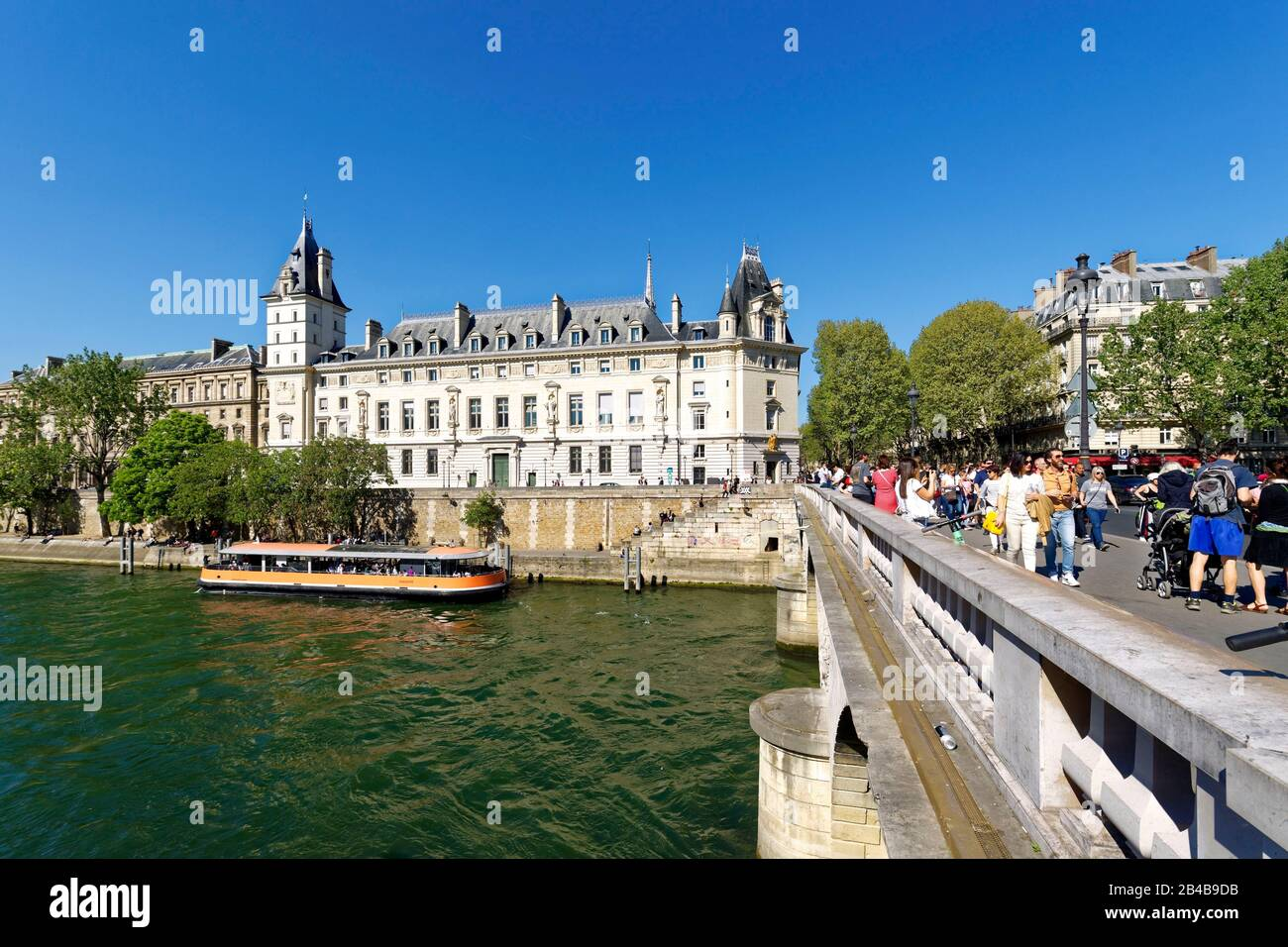 France, Paris, area listed as World Heritage by UNESCO, banks of the Seine river and the pont Neuf (New bridge) and the Courthouse on the Ile de la Cite Stock Photo