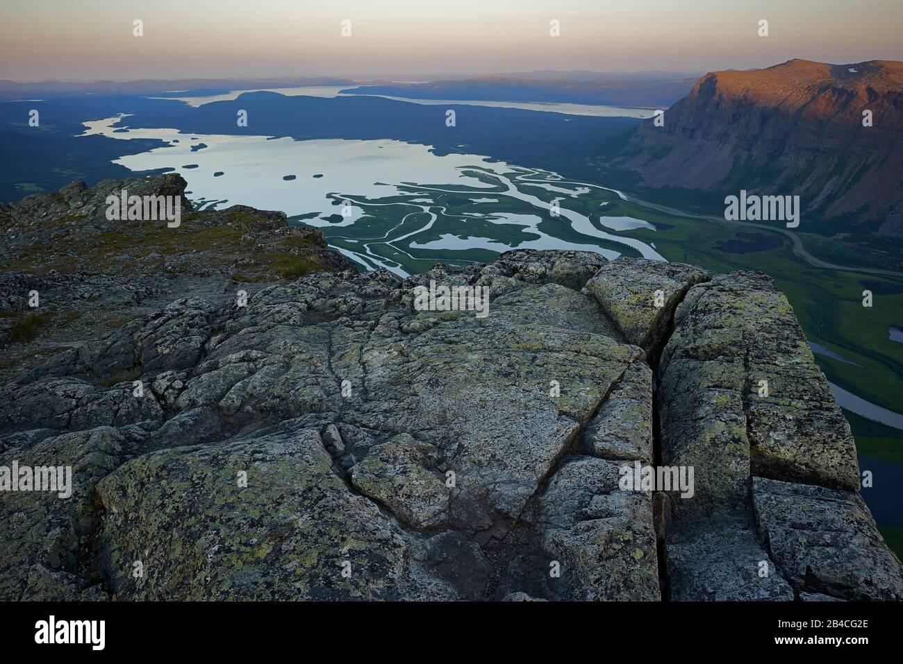 Sweden,Lapland, Lake Laidaure,River Rapaätno delta, Border to Sarek national park Stock Photo