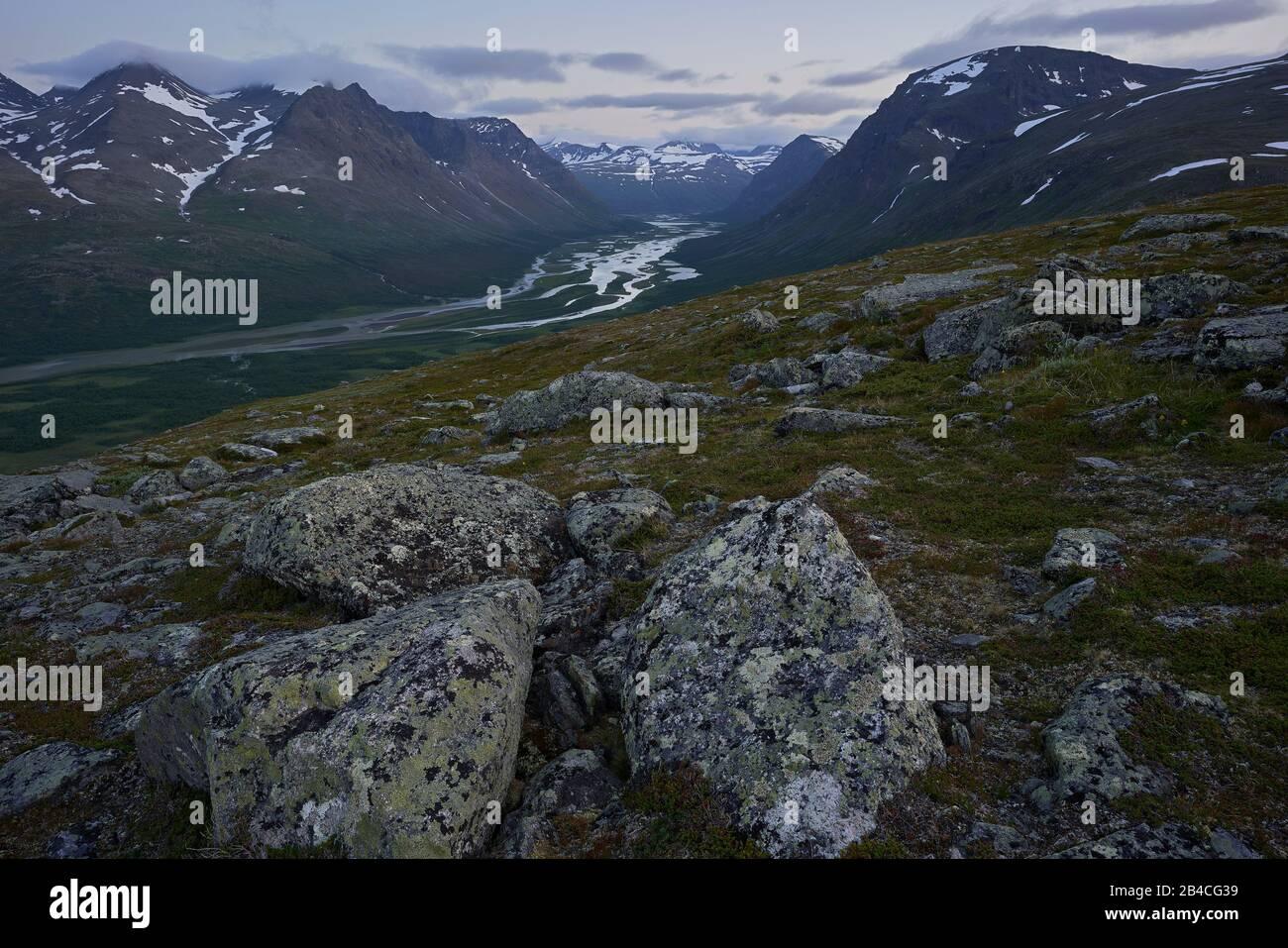 Sweden,Lapland,Sarek nationalpark, Rapaätno valley Stock Photo
