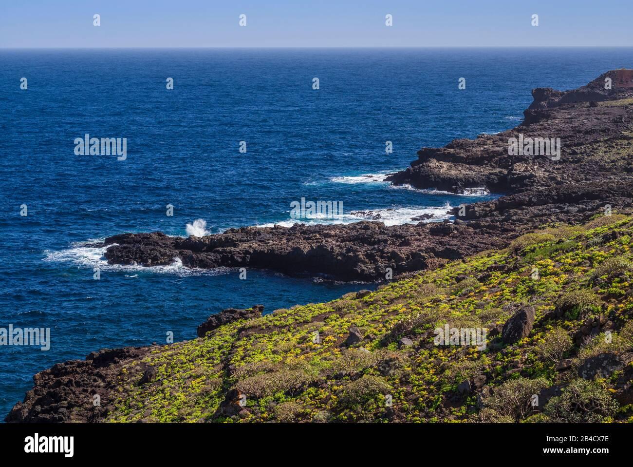 Spain, Canary Islands, El Hierro Island, Tamaduste, coastline Stock Photo