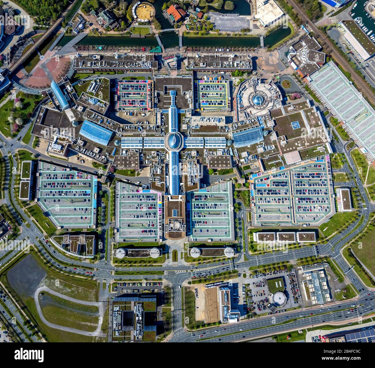 Aerial view of ECE shopping mall CENTRO in Oberhausen's new center in Oberhausen in the Ruhr area in the state of North Rhine-Westphalia, Germany. Stock Photo