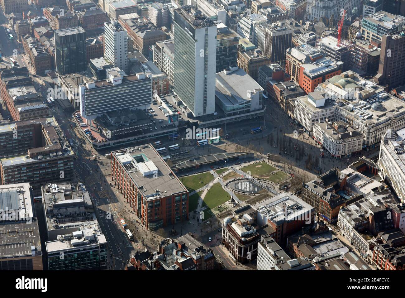aerial view of Piccadilly Gardens with City Tower, Manchester city centre Stock Photo
