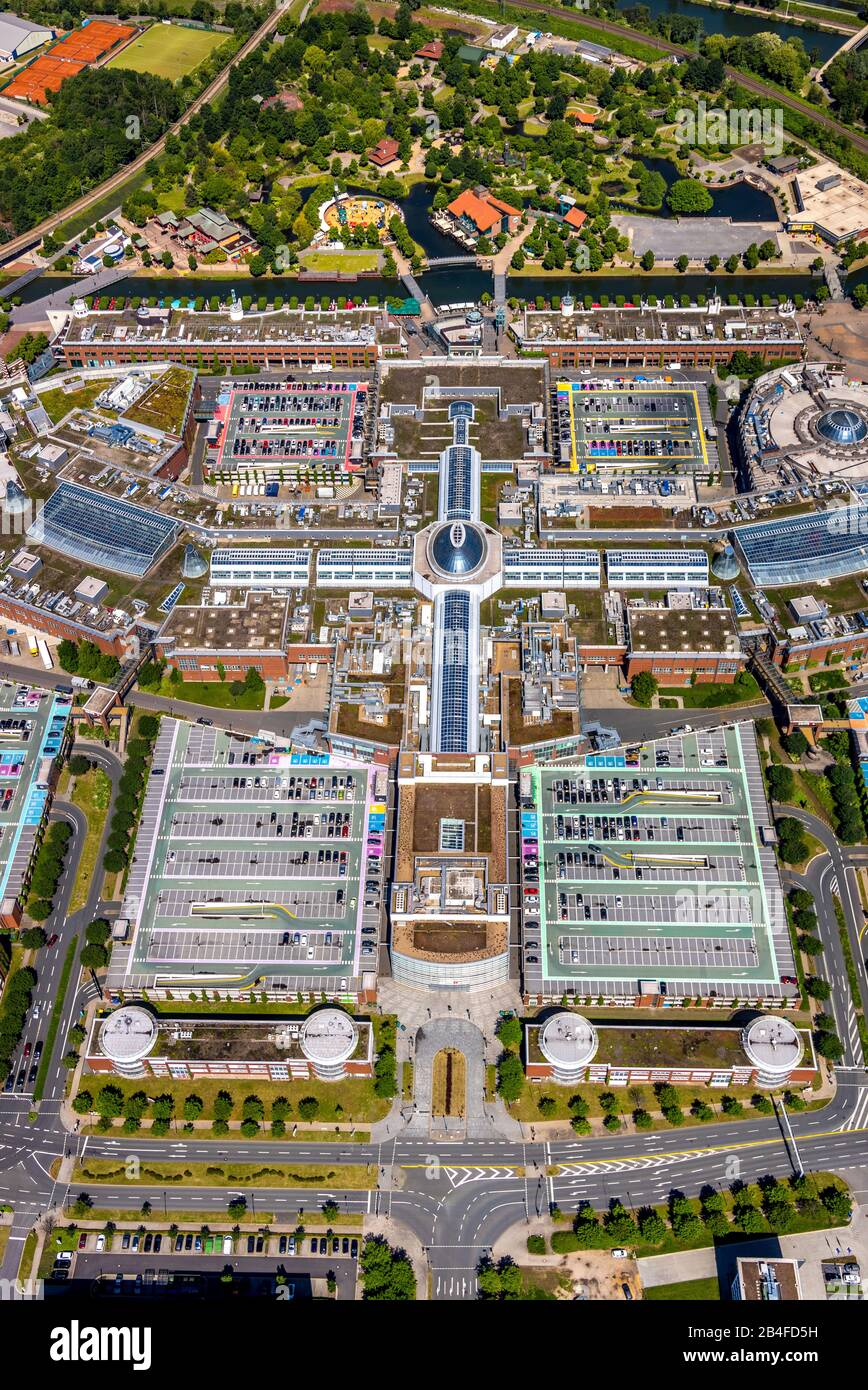Aerial view of the leisure and shopping centre Neue Mitte Oberhausen with the shopping centre CentrO and the industrial and commercial area Neue Mitte in Oberhausen in the Ruhr area in the federal state of North Rhine-Westphalia, Germany. Stock Photo