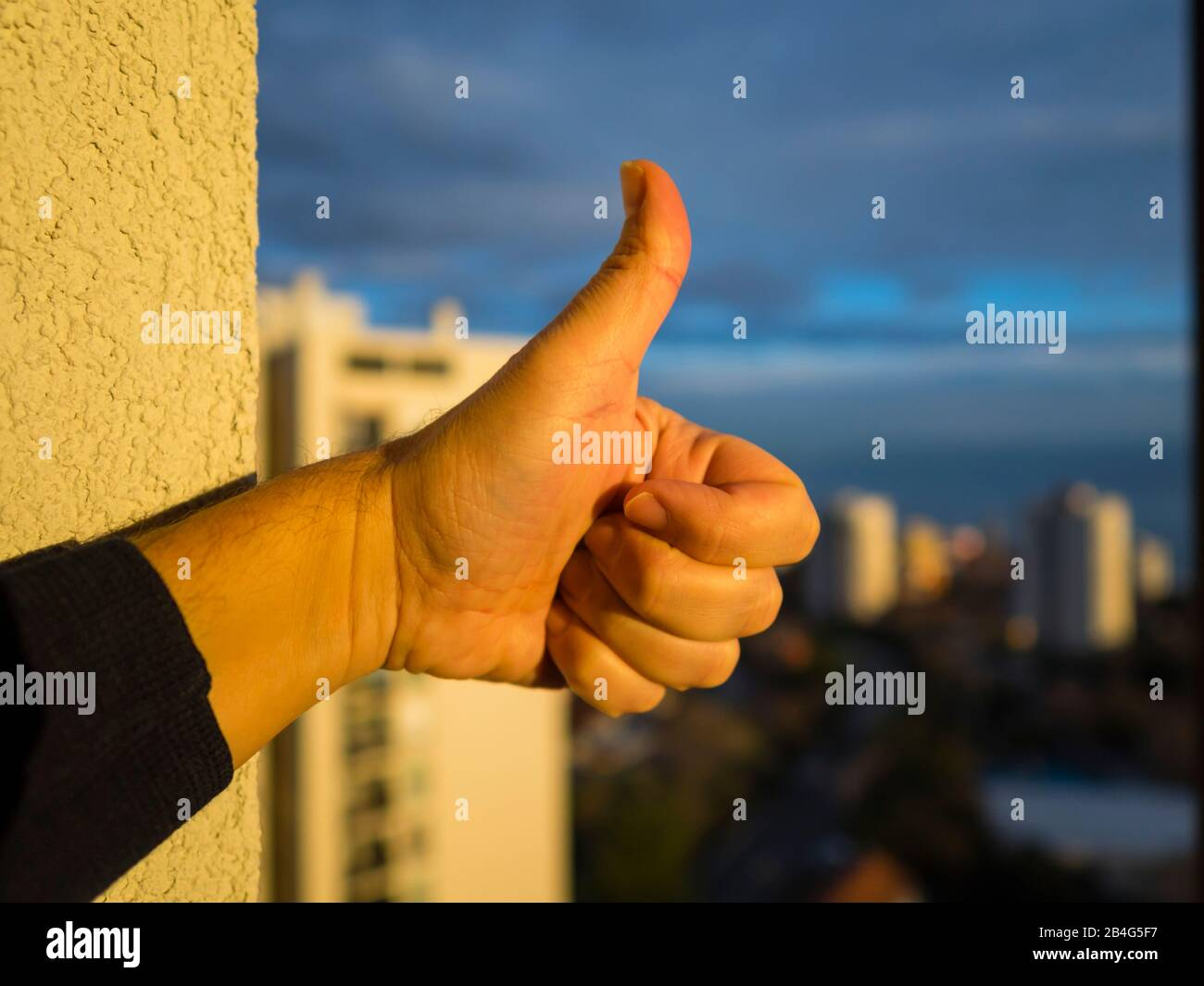 Thumb-up finger Stock Photo