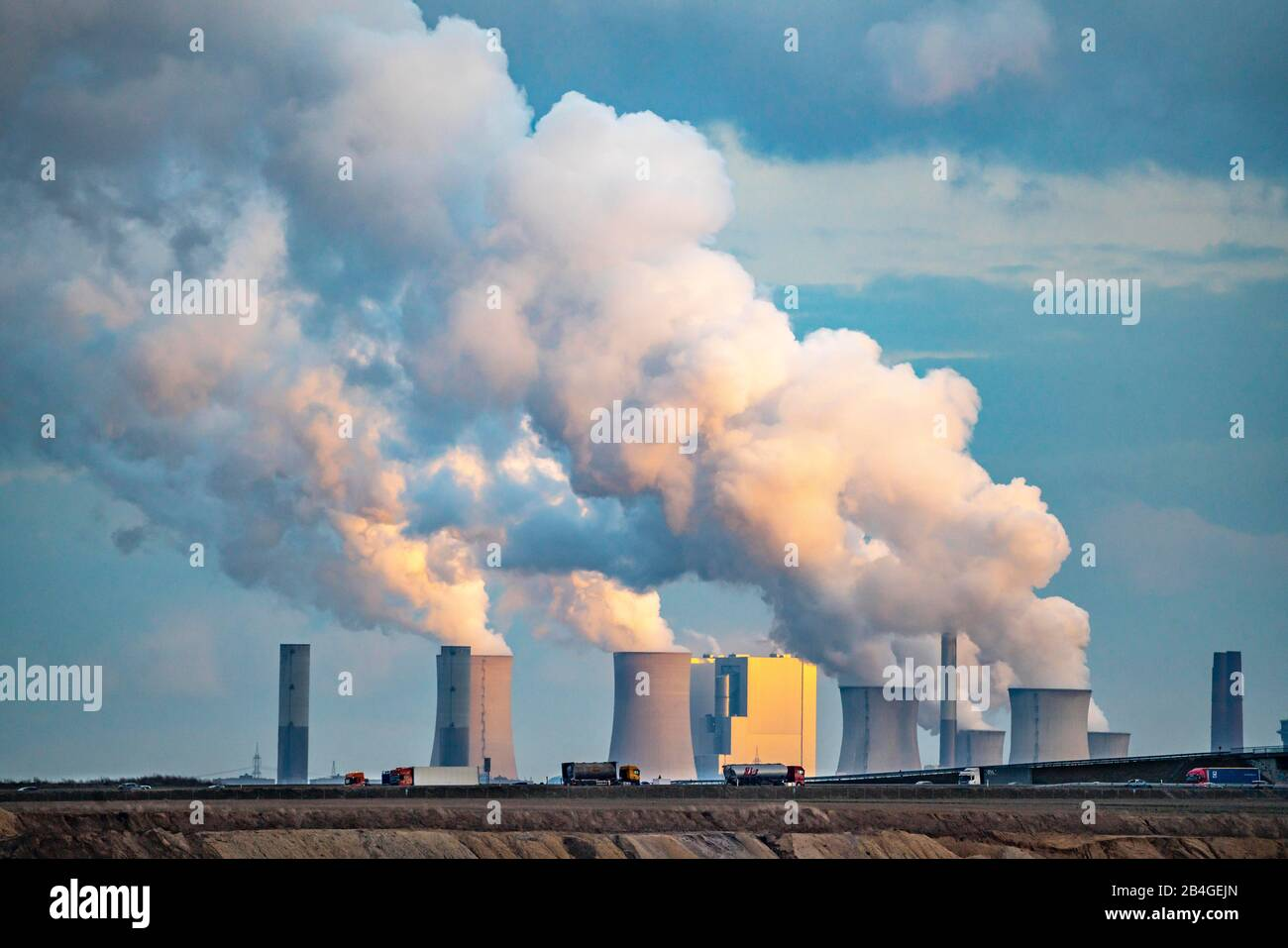 Lignite power plant Neurath, near Grevenbroich, motorway A44, Germany, Stock Photo