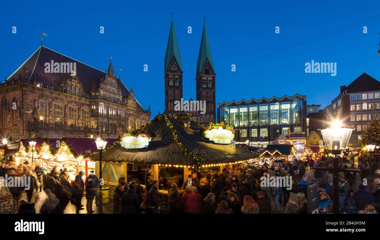 Christmas market, market, town hall, cathedral, blue hour, Hanseatic city, Bremen, Germany, Europe Stock Photo