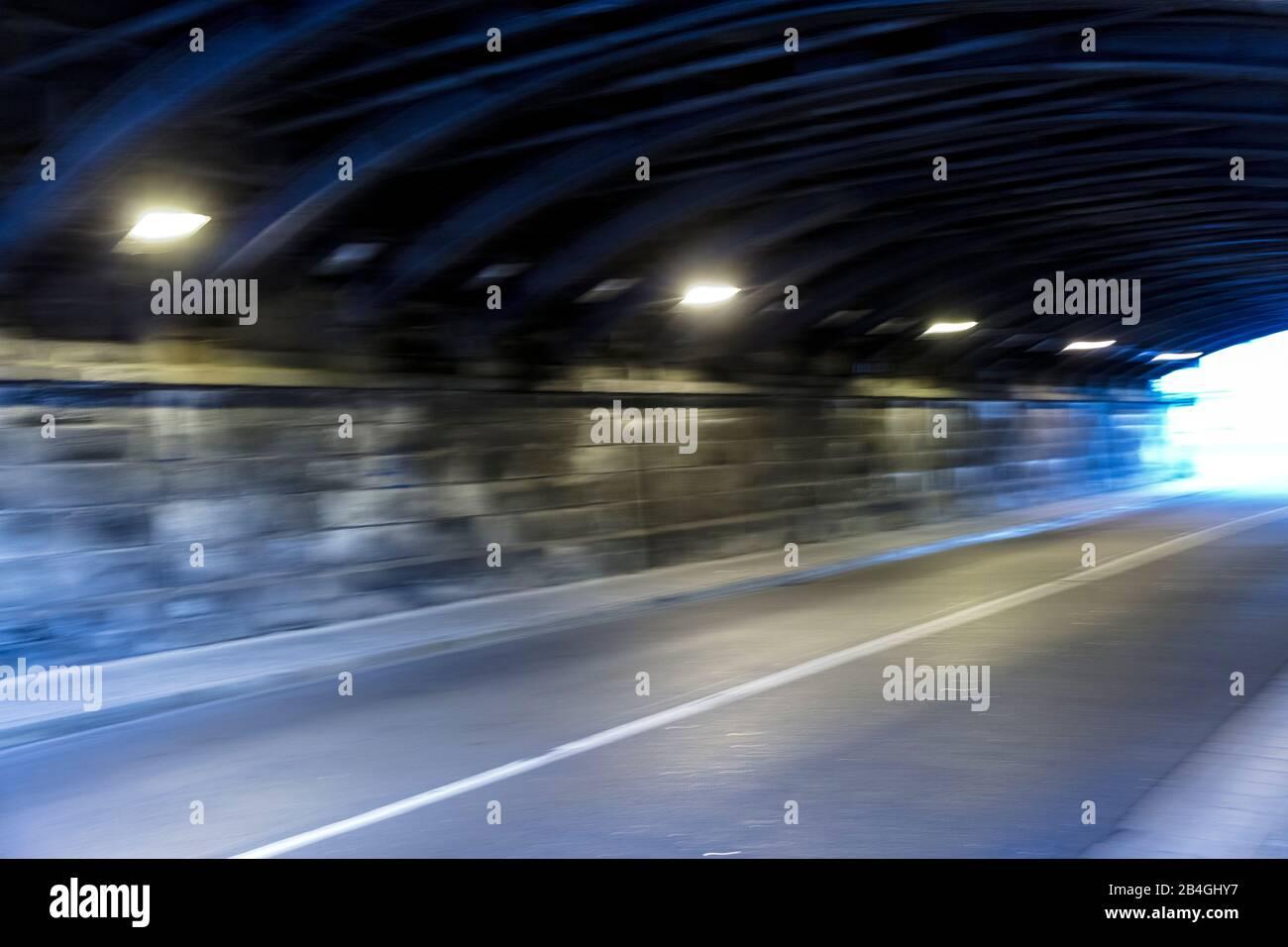Tunnel, Motion, Blur, Lighting, Eisenach, Thuringia, Germany, Europe, Stock Photo