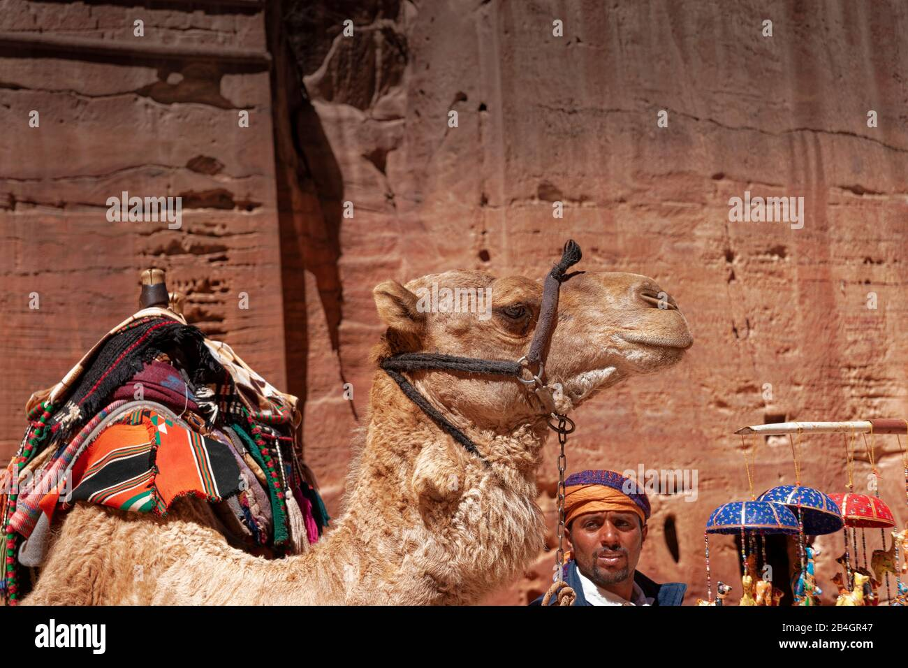 Jordan, Bedouin with camel in the rock city Petra Stock Photo