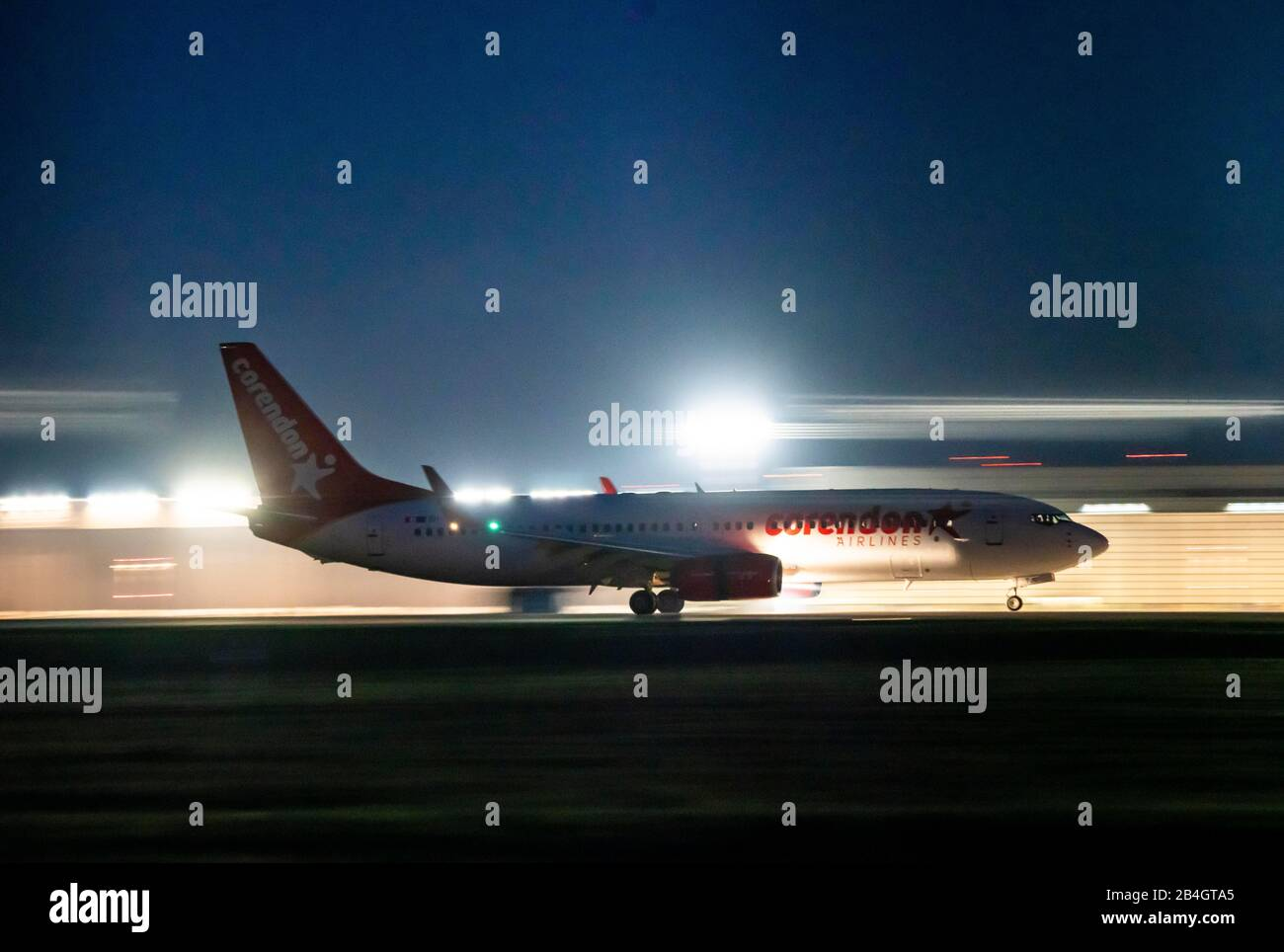 DŸsseldorf International Airport, DUS, aircraft at take-off, Corendon Airlines, Stock Photo