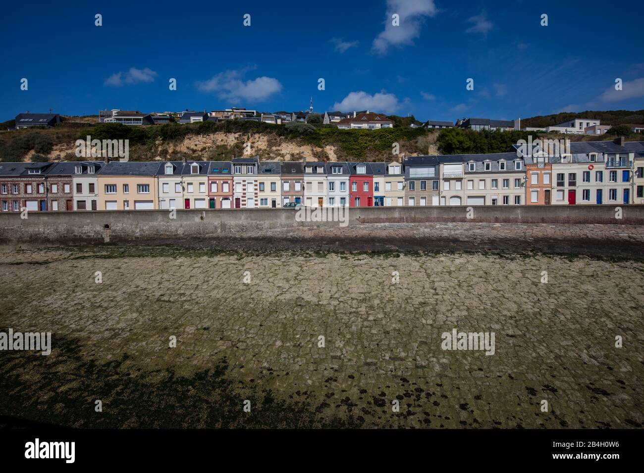 Normandy English Channel Port Terraced Houses Ebb Tide Fecamp Stock Photo Alamy