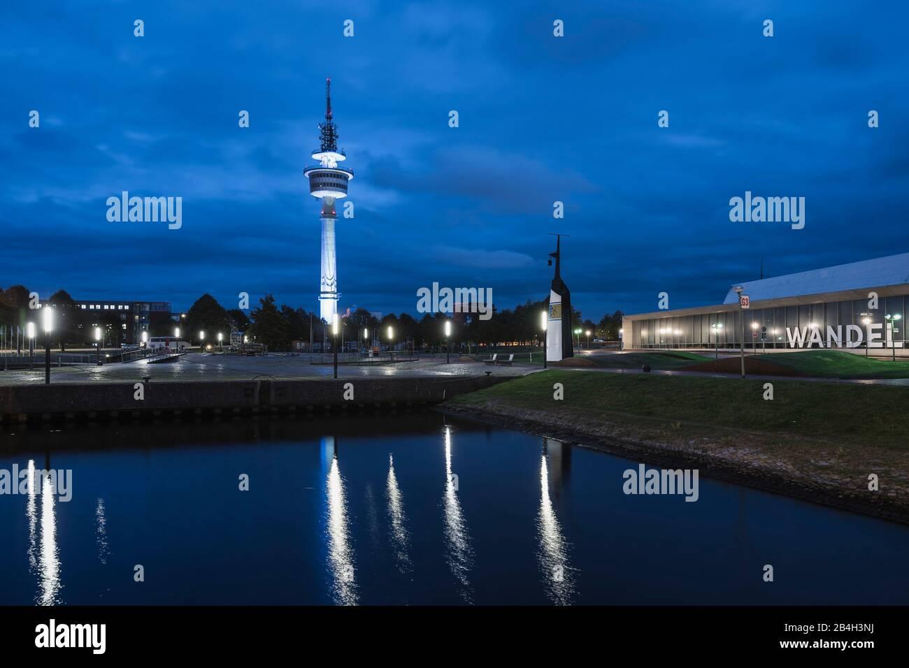 Hans Scharoun Square at night, Richtfunkturm, German Maritime Museum, Bremerhaven, Germany, Europe Stock Photo