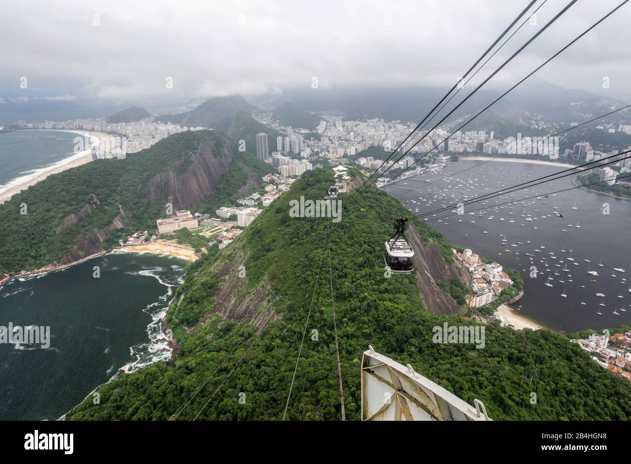 Beautiful view from Sugar Loaf cable car to city landscape, Rio de Janeiro, Brazil Stock Photo