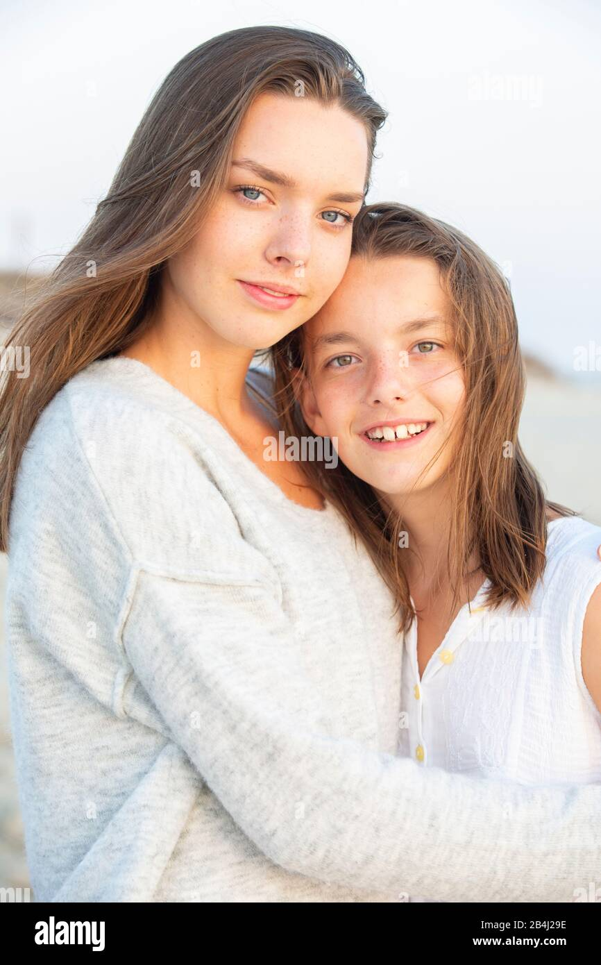 Siblings, portrait, hug Stock Photo