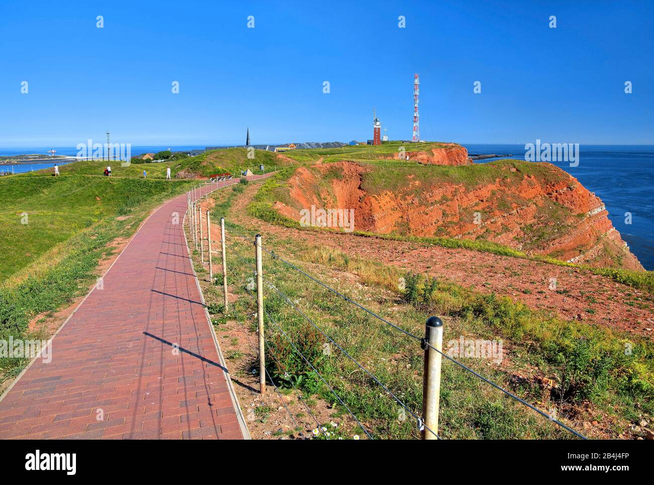 Round trip on the western cliff with lighthouse and transmission tower on the Oberland, Heligoland, Helgoland Bay, German Bay, North Sea island, North Sea, Schleswig-Holstein, Germany Stock Photo