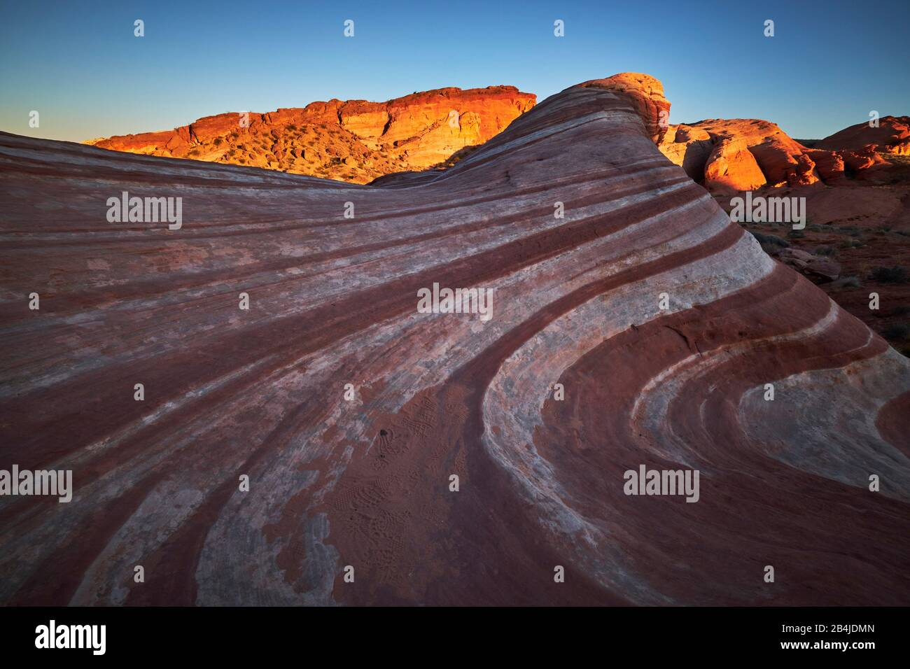 USA, United States of America, Nevada, Valley of Fire, National Park, Fire Wave Trail, Sierra Nevada, California Stock Photo