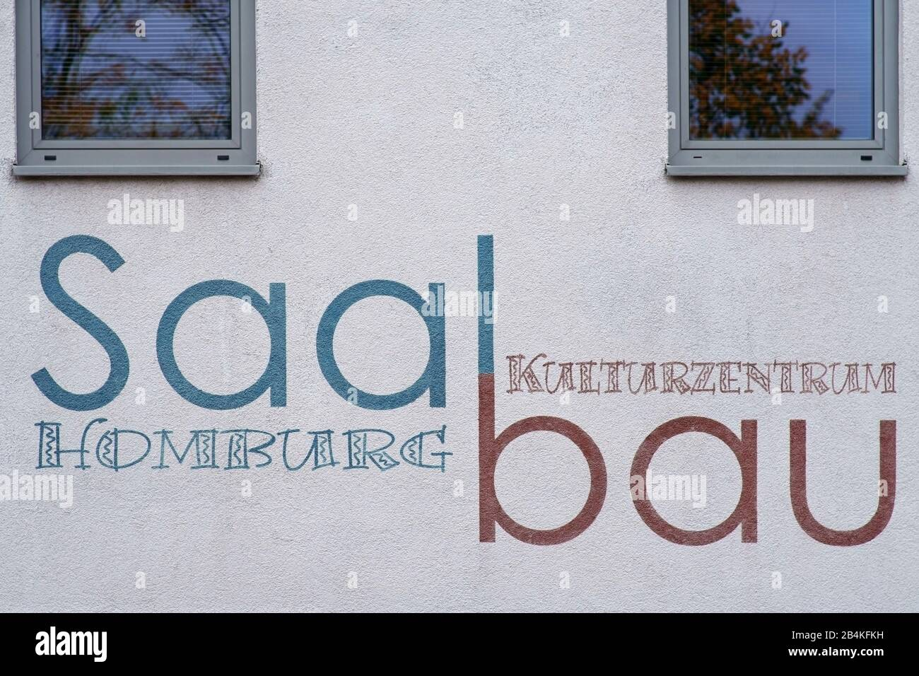 A section of the facade of the Kulturzentrum Saalbau Homburg of an event hall in Homburg. Stock Photo
