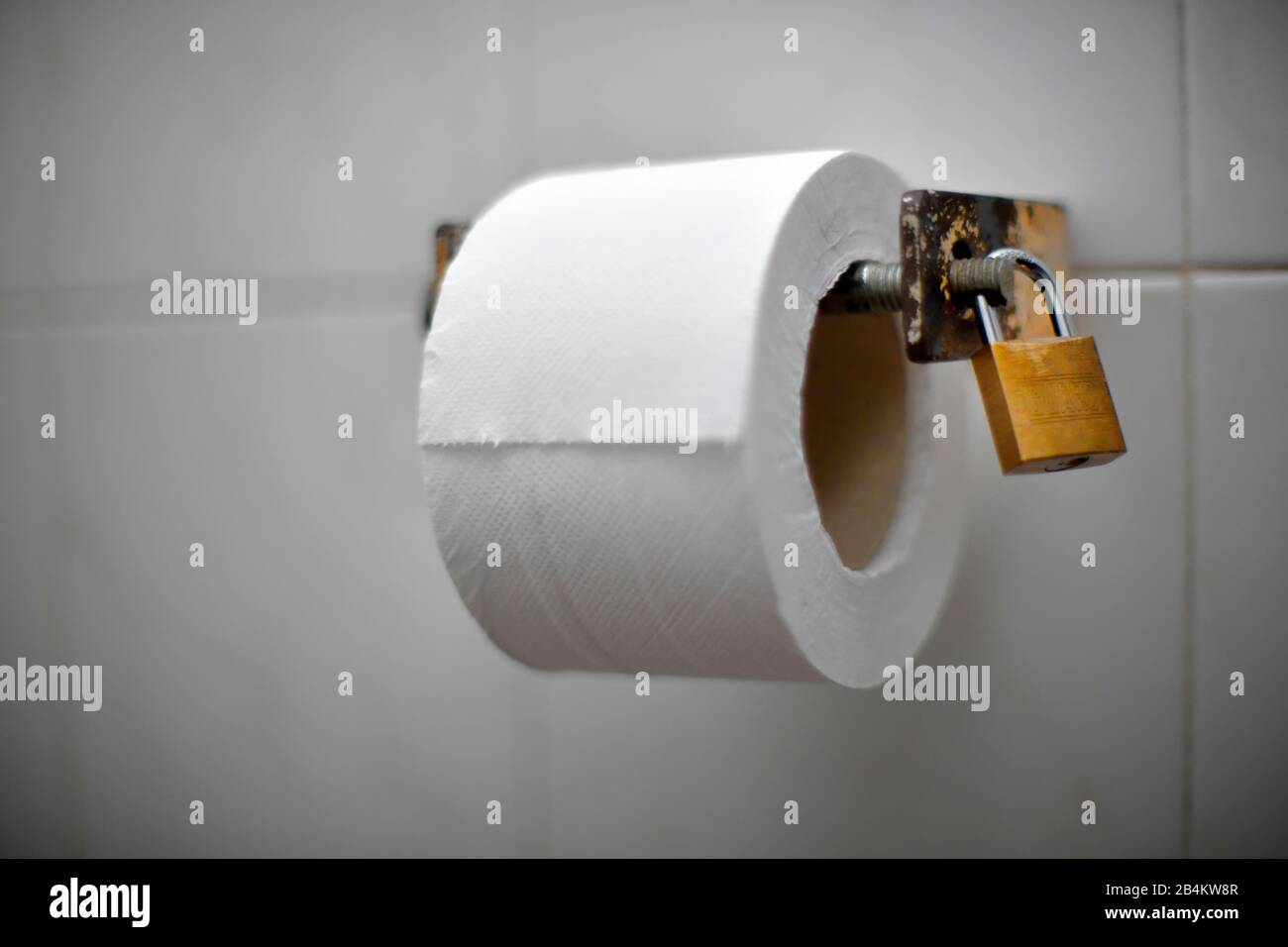 Toilet Paper Roll Secured With A Padlock To Prevent It From Being Taken Away Madeira Island Portugal Stock Photo Alamy