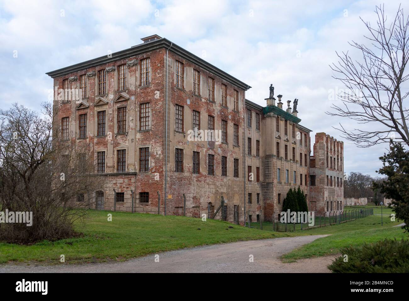 Germany, Saxony-Anhalt, Zerbst, view of the castle ruins of the former princely residence of Anhalt-Zerbst. The building was badly damaged in a bombing in World War II. Among others, Sophie Auguste Friederike von Anhalt-Zerbst, who later became Russian Tsarina Catherine the Great, lived at the castle. Stock Photo