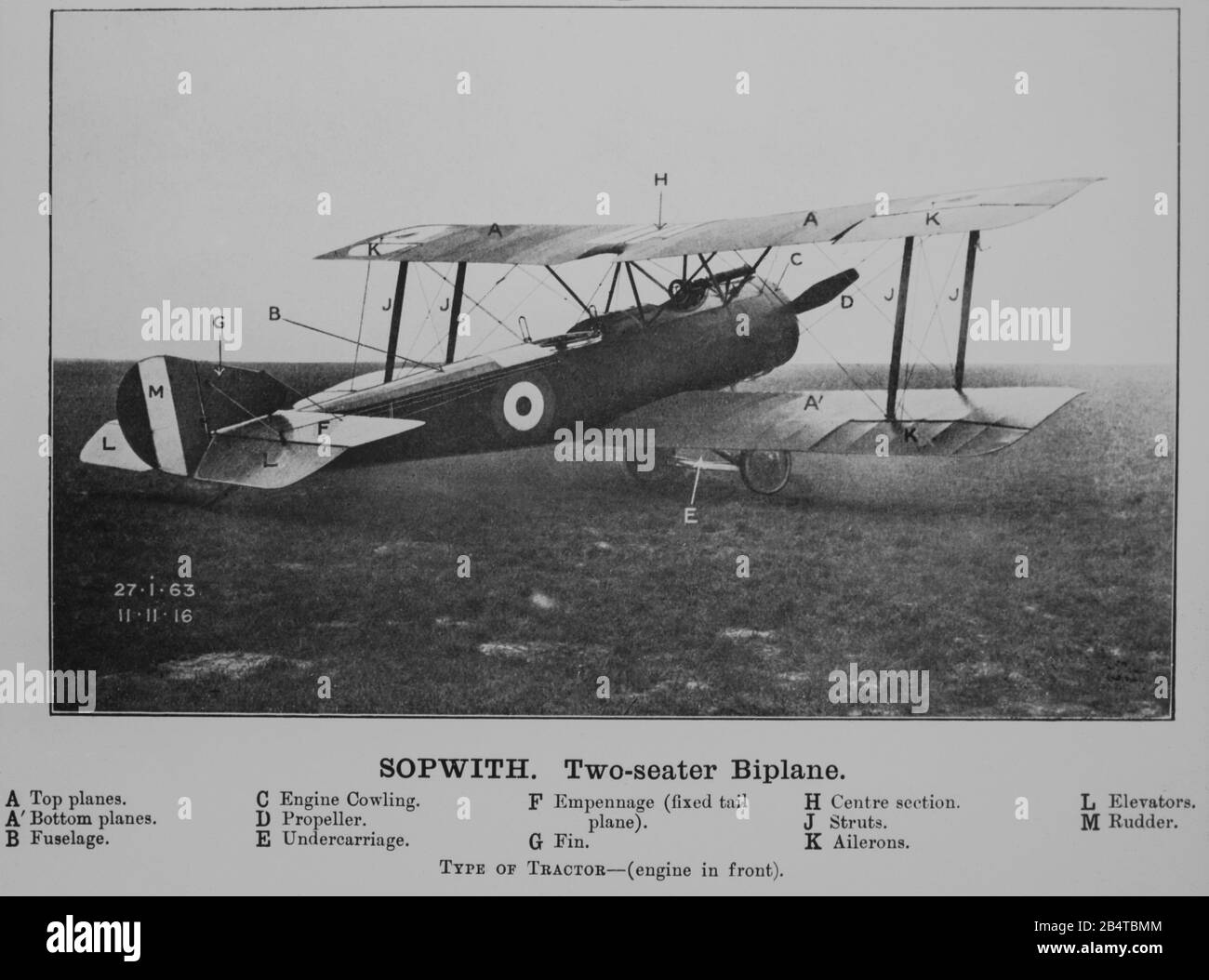 A vintage photograph of a Sopwith 1 1/2, or one and a half, Strutter Biplane. This aircraft entered service with the British Royal naval Air Service, RNAS, in February 1916. Photo taken on 11th November 1916. Stock Photo