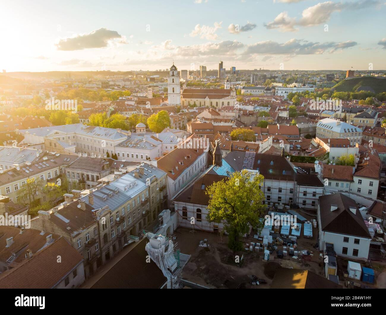 Aerial view of Vilnius Old Town, one of the largest surviving medieval old towns in Northern Europe. Summer landscape of UNESCO-inscribed Old Town of Stock Photo
