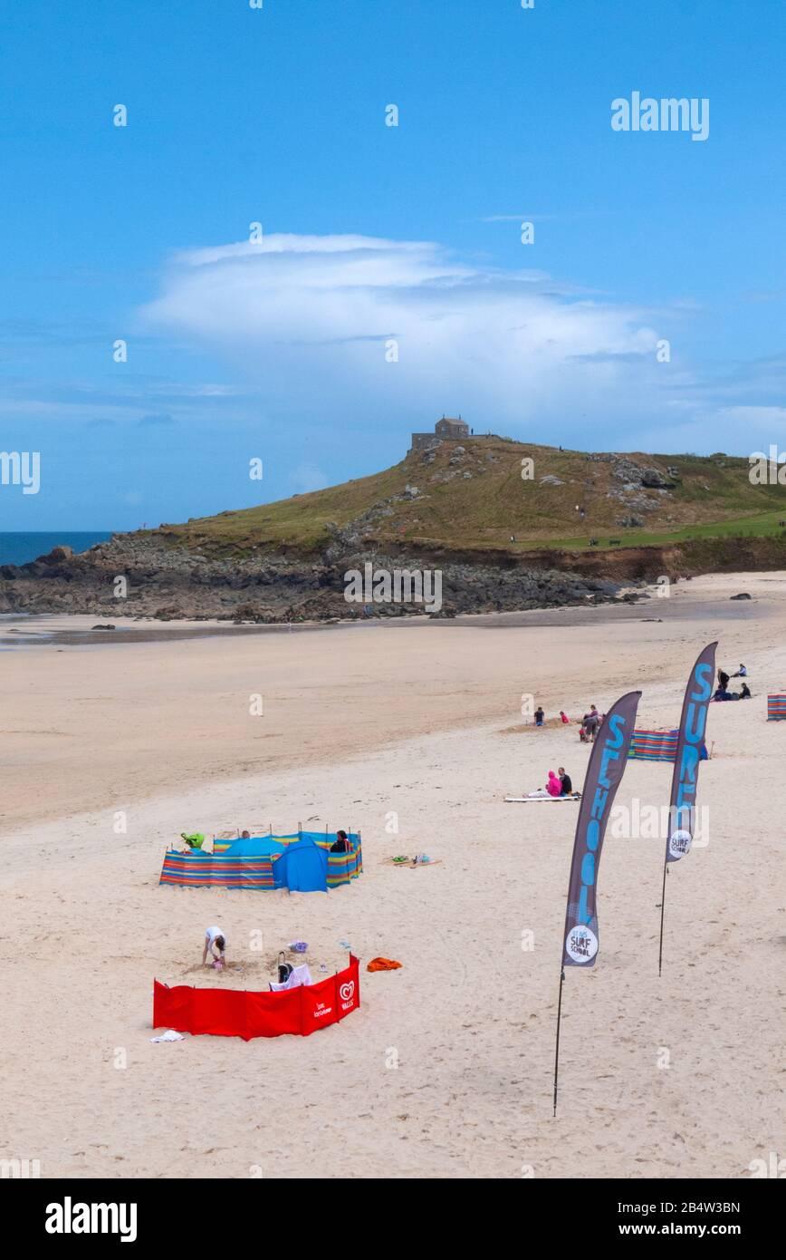 Porthmeor Beach and the Island, St Ives, Cornwall, United Kingdom Stock Photo