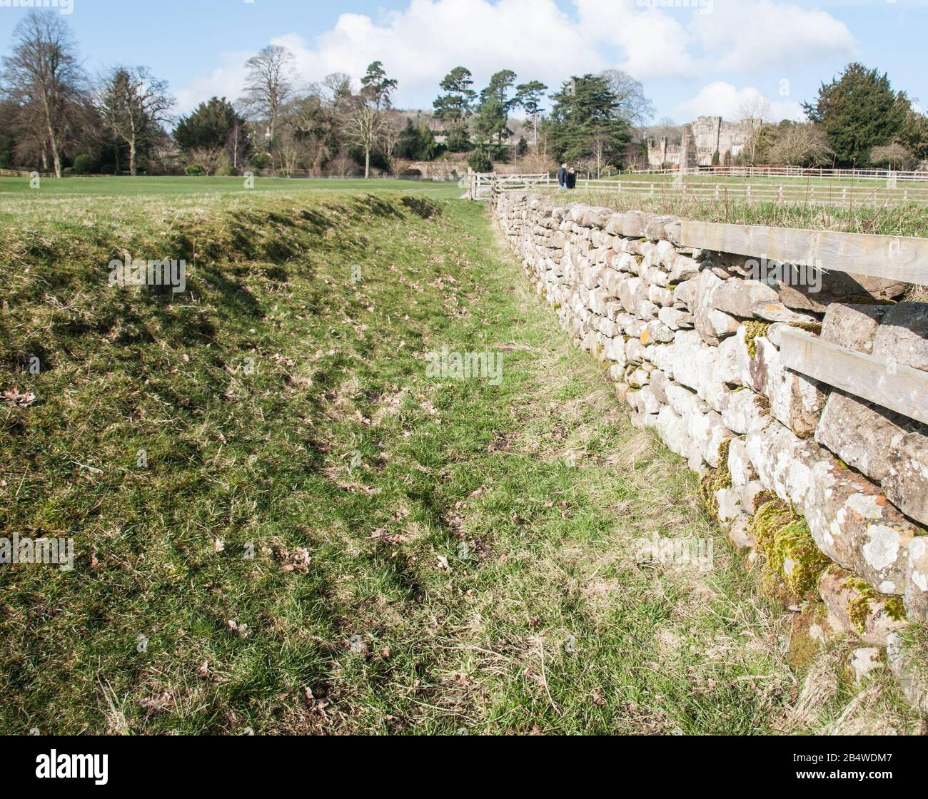 Around the UK - A day out at Bolton Abbey - Ha-Ha Wall Stock Photo
