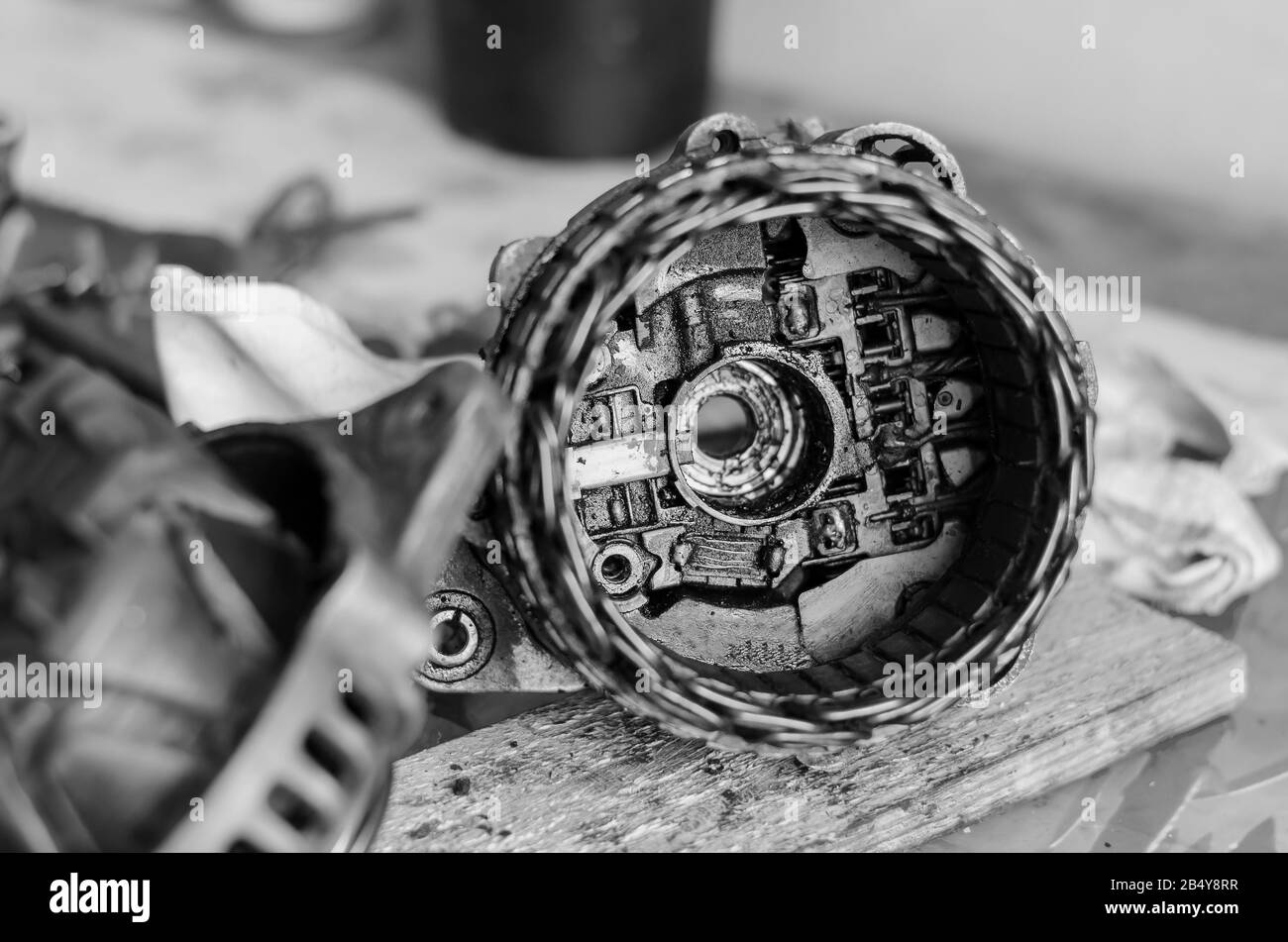 Dirty Rear Cover Of A Car Alternator Diode Bridge And Current Collector Brushes Repair Used Generator Auto Repair Shop Or Service Center Selective Stock Photo Alamy