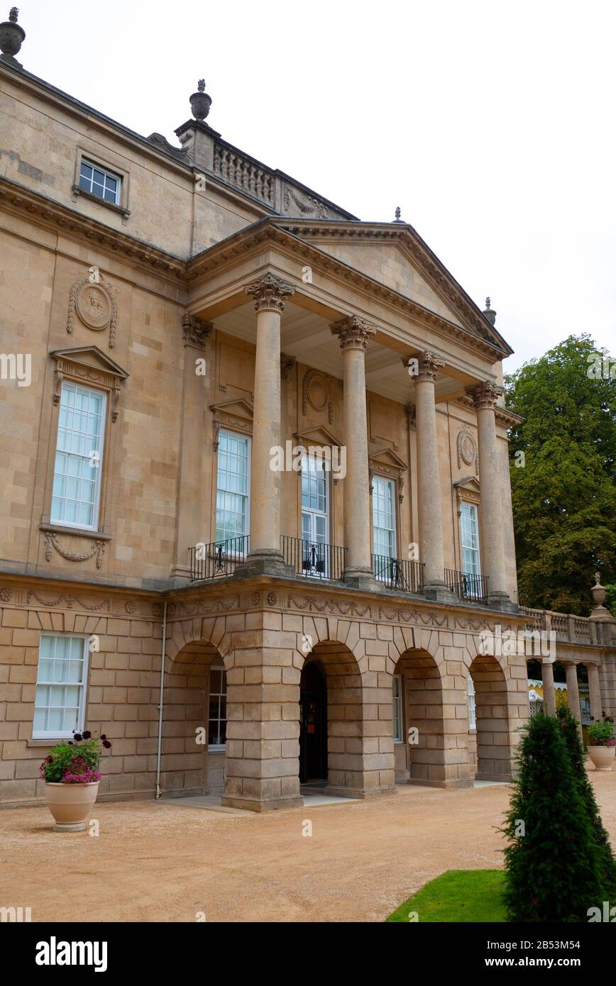 The main facade of the Holburne Museum, standing at the eastern end of Great Pulteney Street, Bath, Somerset Stock Photo