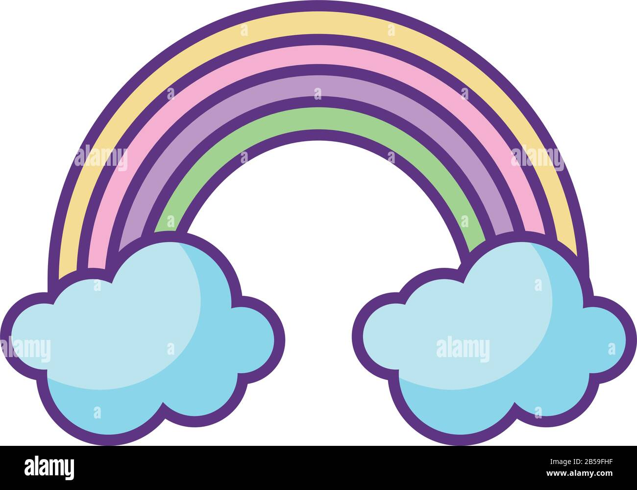 rainbow and clouds icon over white background, flat style, vector illustration Stock Vector