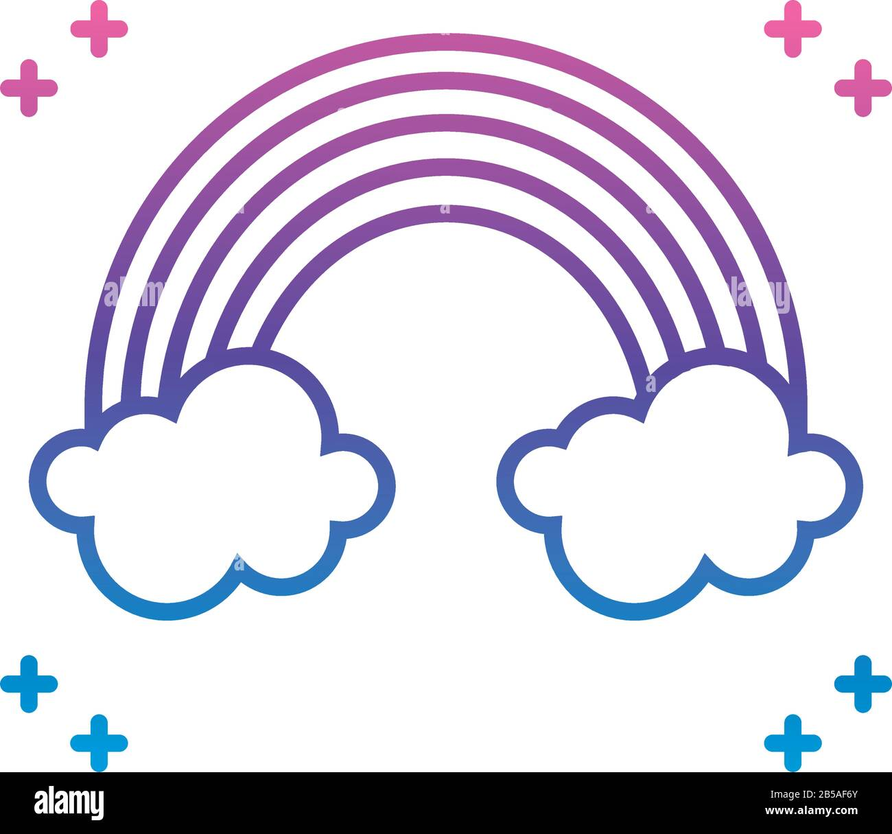 rainbow and clouds icon over white background, gradient line style, vector illustration Stock Vector
