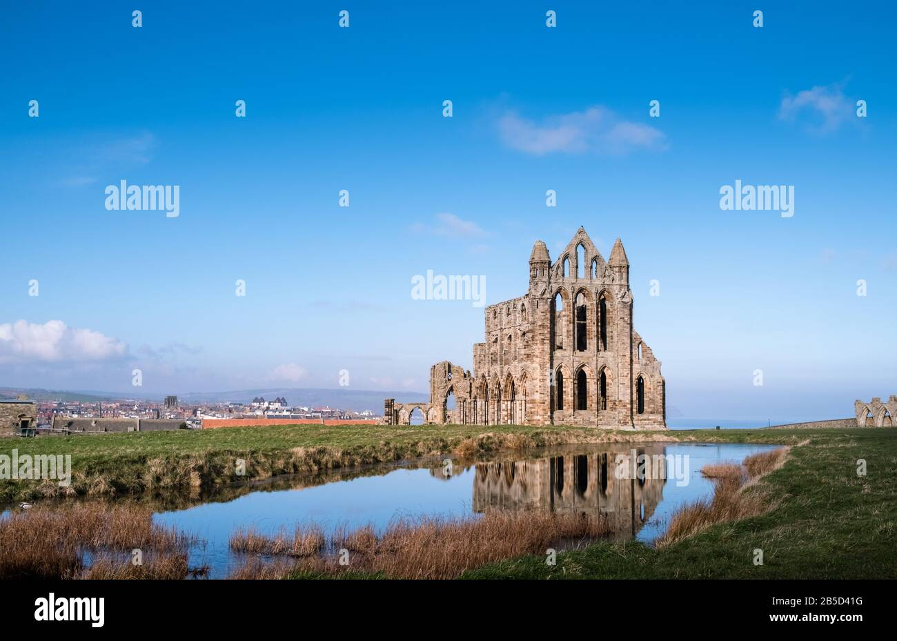 Whitby Abbey, the ruined remains of a 7th century Benedictine Abbey located on the North Yorkshire coast, UK, and a Grade 1 Listed building. Stock Photo