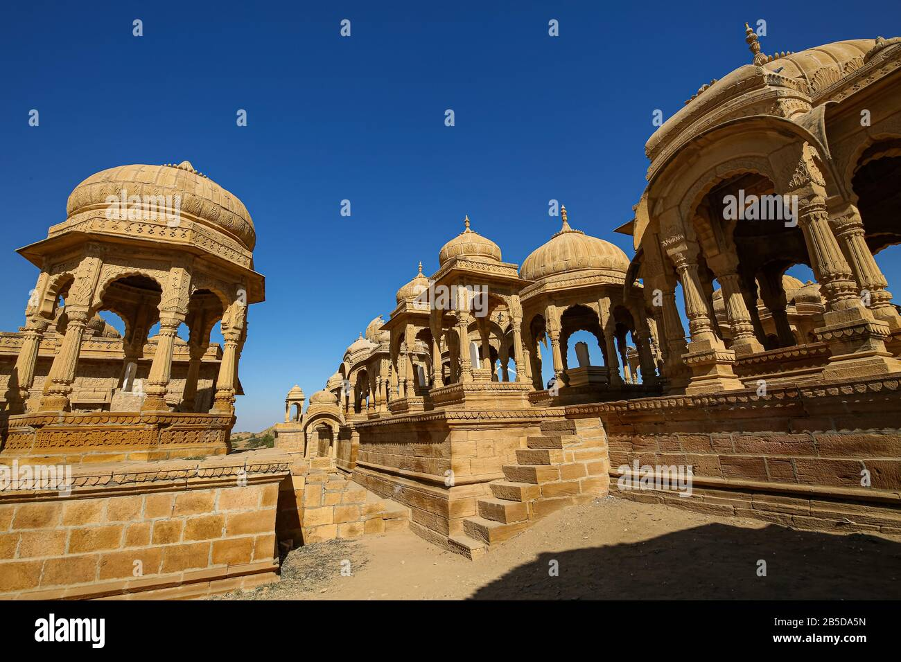 Historic ruins of royal cenotaphs at Bada Bagh Jaisalmer Rajasthan, India Stock Photo