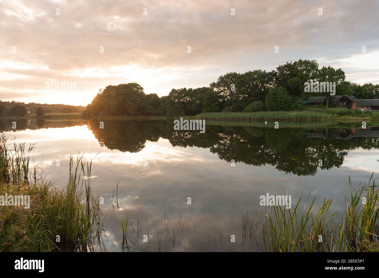 Lake Mustin, village of Mustin, County of Lauenburg, Schleswig-Holstein, North Germany, Central Europe Stock Photo