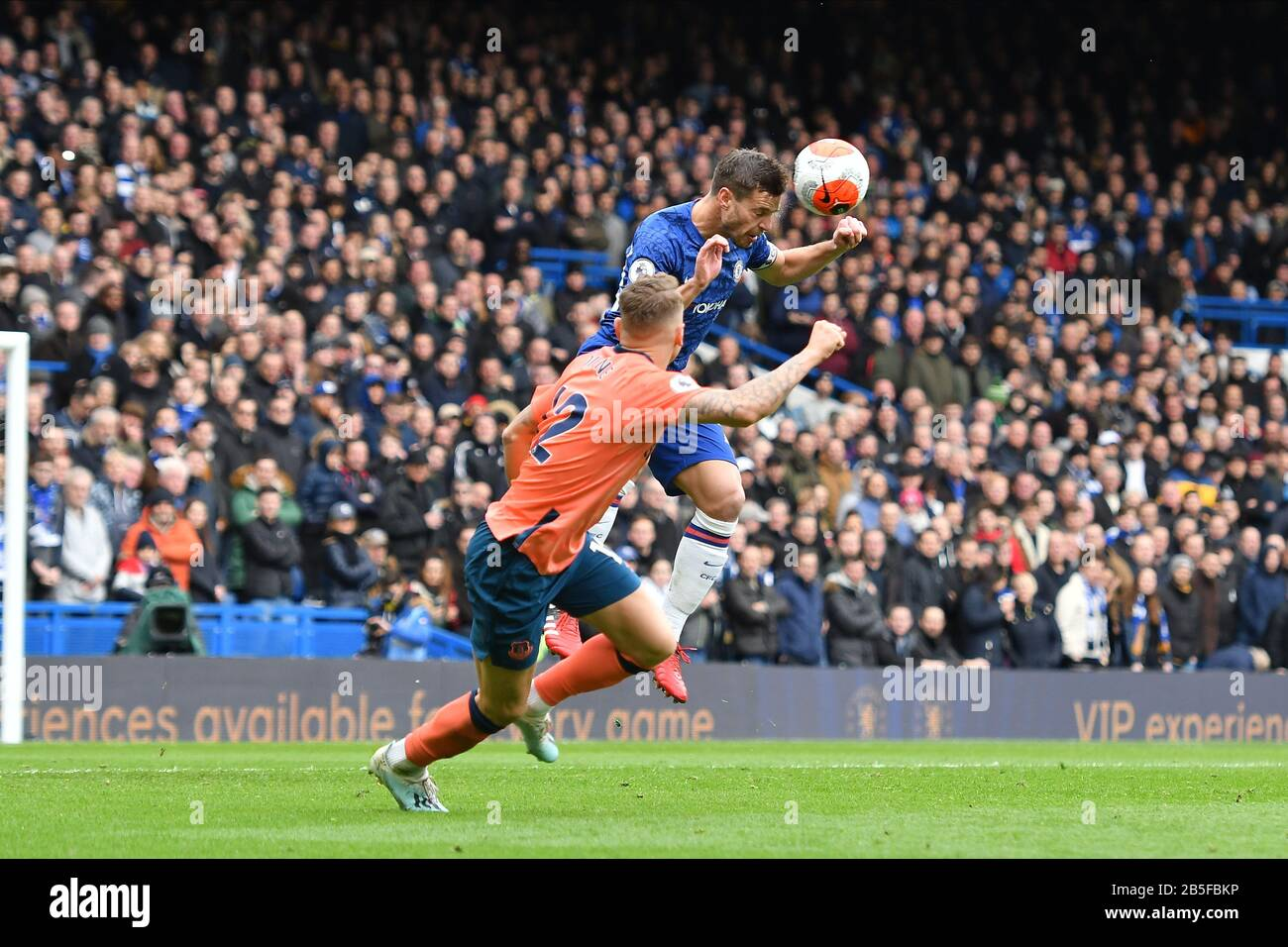London Uk 8th Mar 2020 Cesar Azpilicueta Of Chelsea Fc Contests A Header With Lucas Digne