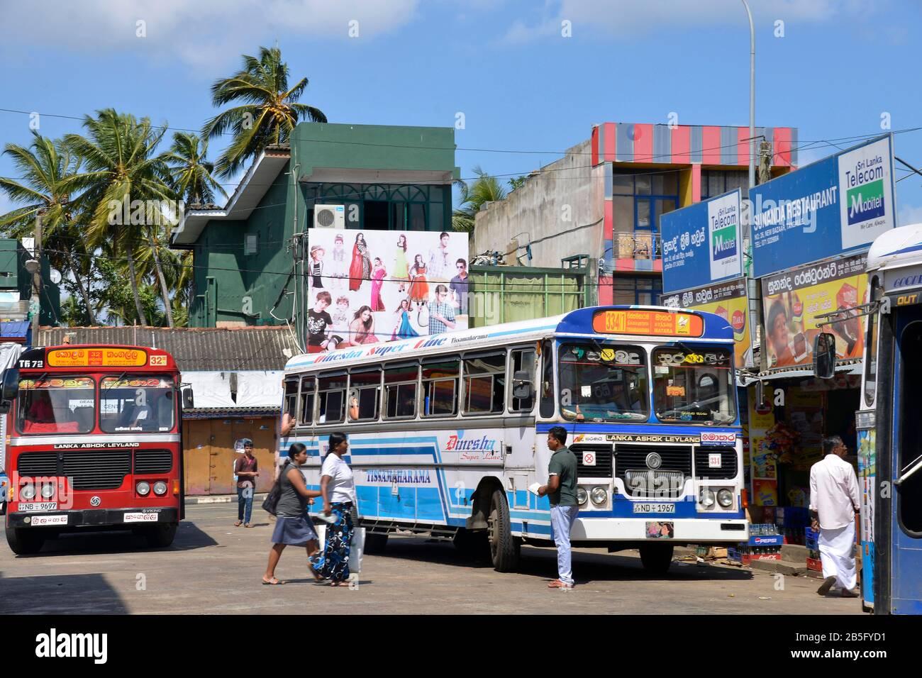 Busbahnhof, Tangalle, Sri Lanka Stock Photo