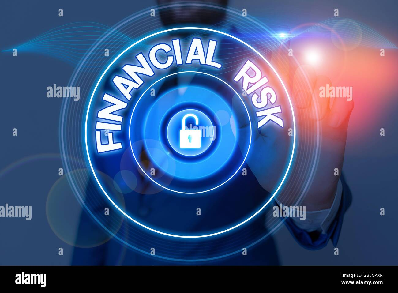 Text sign showing Financial Risk. Business photo showcasing any of various types of risk associated with financing Stock Photo