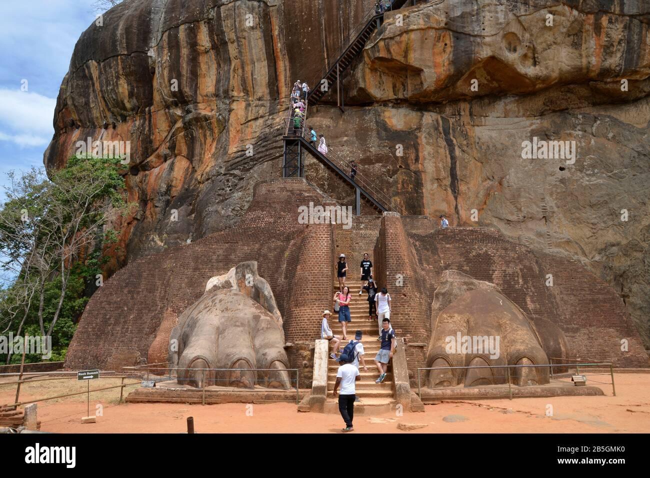Treppe, Loewenfelsen, Sigiriya, Sri Lanka Stock Photo